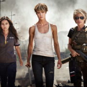 Terminator: Dark Fate -A still from ongoing shooting of the new Terminator movie in Hungary: The Trio-Ladies- Natalia Reyes, Mackenzie Davis, and franchise veteran Linda Hamilton