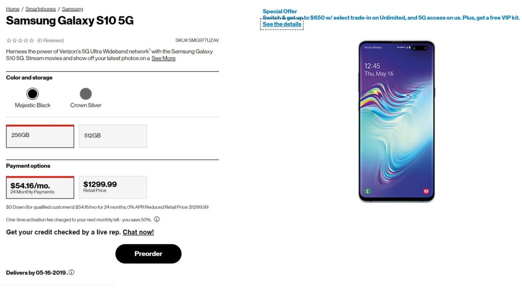 Pre-order Samsung Galaxy S10 5G: Career soon to roll out in more locations