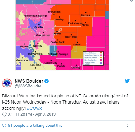 Spring Snowstorm to hit Denver and Colordao : Blizzard Warning issued!