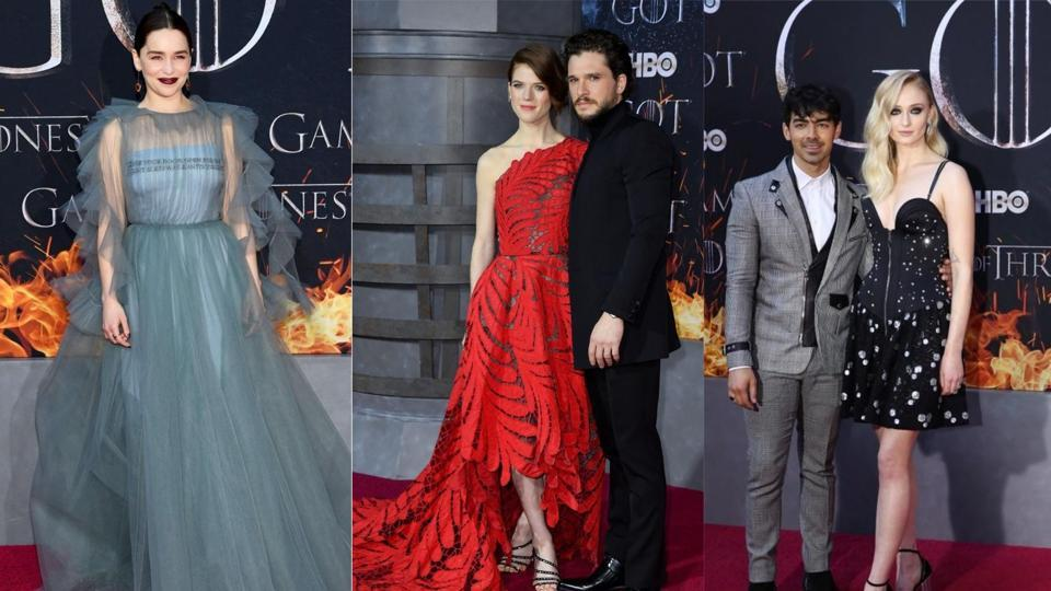 Emilia Clarke, Sophie Turner, and Kit Harington seen in premieres of Game of Thrones.