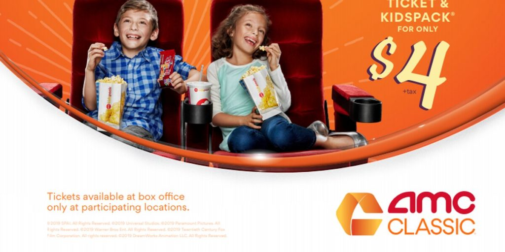 AMC Theatres Offering Drinks, Popcorn and Movie Tickets at $4 for Kids