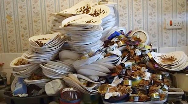 Hoarder from UK living along with maggots