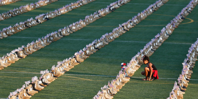 7,500 boots are on display at Fort Bragg to honor US service members killed since 9/11