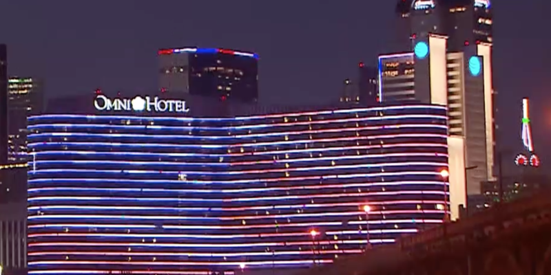 Dallas Downtown lights up Red, White and Blue for Memorial Day