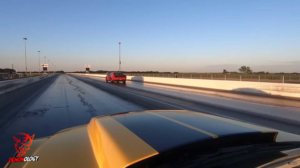 Roush Mustang duels with Dodge Demon at a drag race