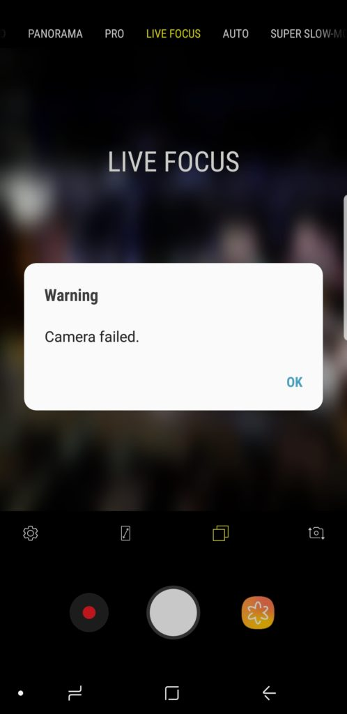 Samsung S9 camera crashes after new update.