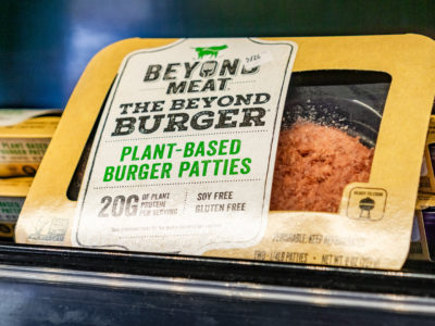 Beyond Meat's yummy plant based burger patties.